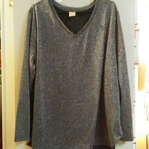 Sparkly Black & Silver Long Sleeve Blouse
